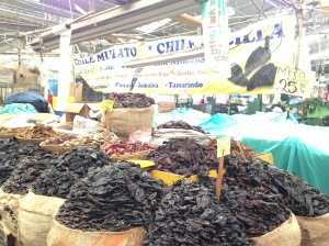 Dried chile heaven at the Cinco de Mayo market in Puebla. Chiles are the foundation of many dishes including the adobo